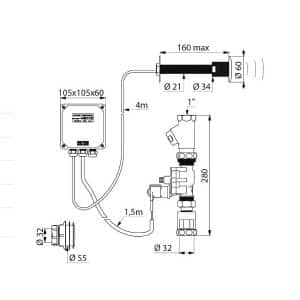 Toiletkraan met directe spoeling elektronisch