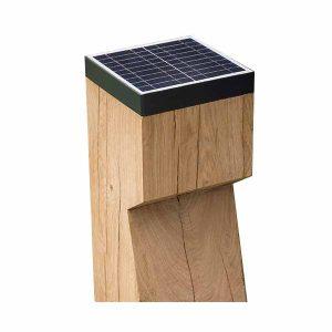 EYE-solar, Eiken, 175x175x900mm + 600mm ingraven Solar verlichting paal